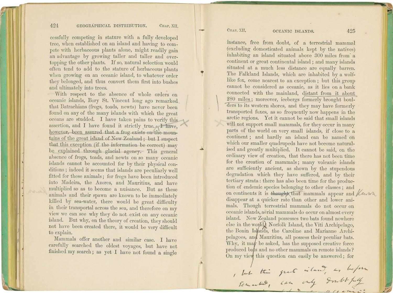 Một trang có chú thích chỉnh sửa của Charles Darwin